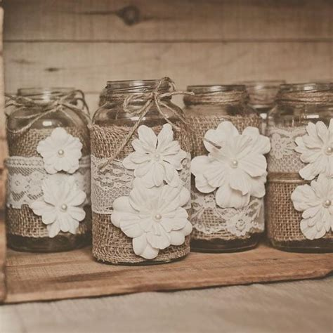 jar burlap centerpieces burlap and lace jar wedding centerpieces