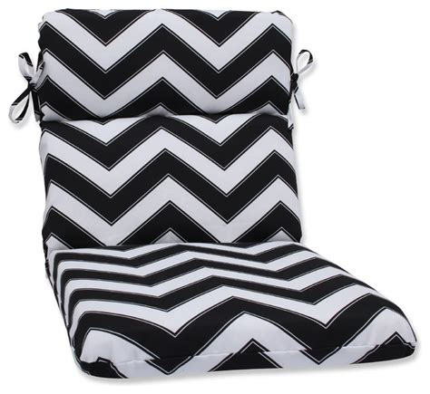Black And White Outdoor Pillows by Chevron Black And White Rounded Corners Chair Cushion