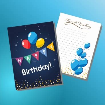 birthday card balloon template happy birthday card design template free vector in adobe