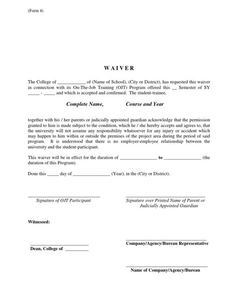 Parents Consent Letter Sle For Ojt Ojt Waiver Guide Form
