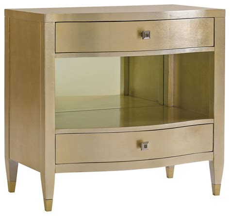 transitional nightstands caracole gold dust two drawer nightstand transitional