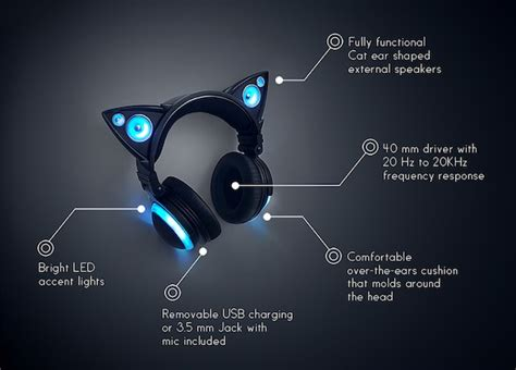 Headset Nekomimi anime inspired headphones with external cat ear speakers that glow designtaxi