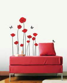 Poppy Wall Sticker Flowe Wall Decals Red Poppy Removable Vinyl Stickers