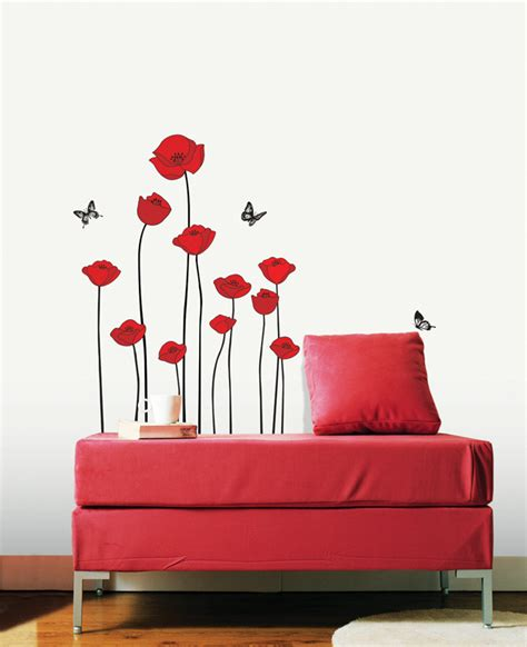 flowe wall decals poppy removable vinyl stickers