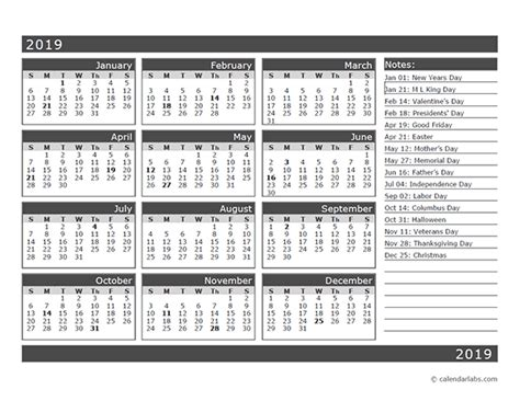 13 month calendar template 12 month one page calendar template for 2019 free
