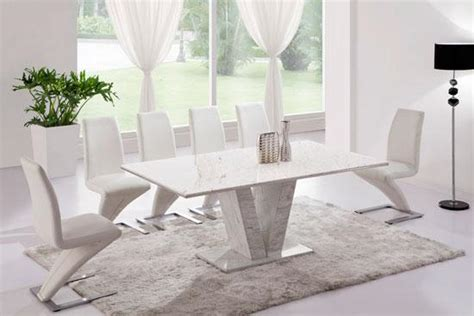 white marble v leg dining table and 6 z chairs set
