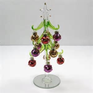 miniature green art glass christmas tree w decorated
