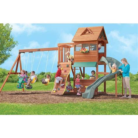 big backyard wooden playsets the stoneybrook lodge premium wooden swing set from big