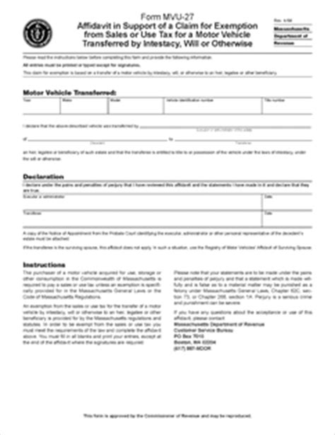 section 27 notice probate form mvu 27 fillable affidavit in support of a claim for
