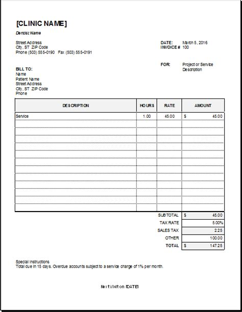 free printable dental invoice sle medical bill receipt format snapwit co