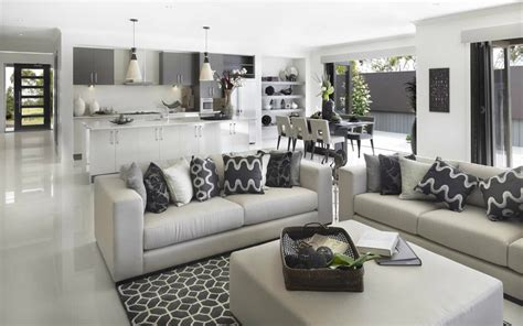large open plan kitchen family room with plenty of light metricon great colour scheme and love those shelves on