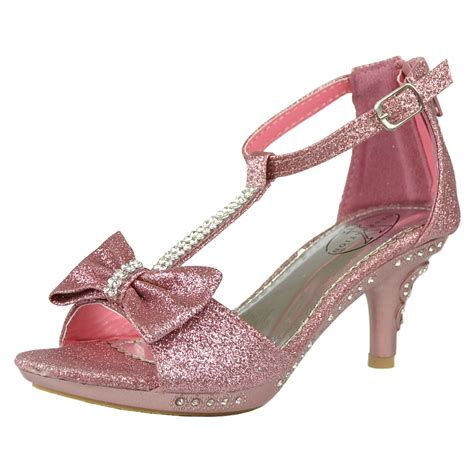 kid high heels dress sandals t bow accent glitter high heels