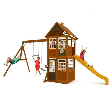 cedar summit willowbrook wooden playset swing set