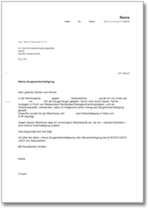 Musterbrief Beschwerde Hausverwaltung Beschwerde 252 Ber Eine Zu Geringe Entsch 228 Digung Als Zeuge De Musterbrief
