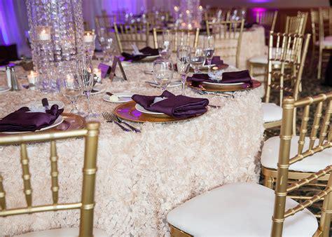 golden chiavari chair luxe event sequin table linen eggplant gold wedding event