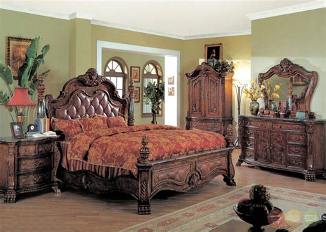 king post bedroom set zachary traditional poster bedroom collection leather