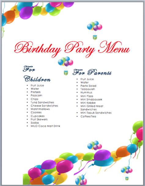 Free Menu Card Template Indesign by Birthday Menu Card Designs Best And Professional Templates