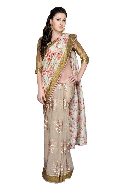 saree net blouse designs buy gold embroidered net saree with blouse online