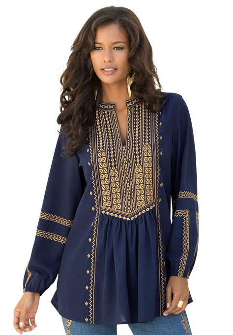 Boho Blouse Tunic Mariana this ultra stylish embroidered boho plus size tunic by denim 24 7 is a staple for the