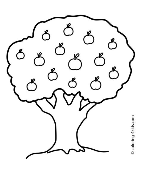nature apple tree coloring page  kids printable