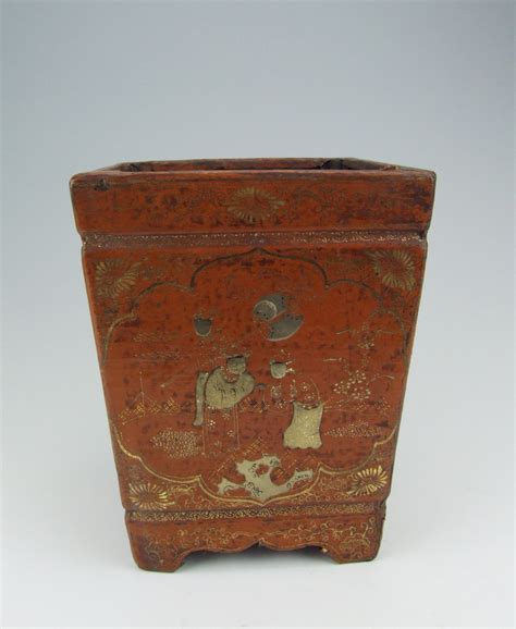 wooden pattern brush chinese antique lacquer wooden brush holder with pattern