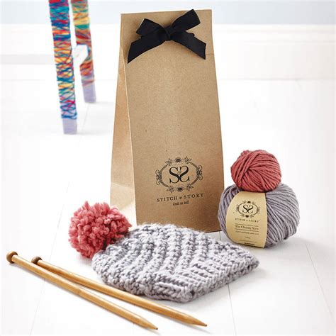 knit kits knitting kit beginner s pom pom hat gift set by stitch