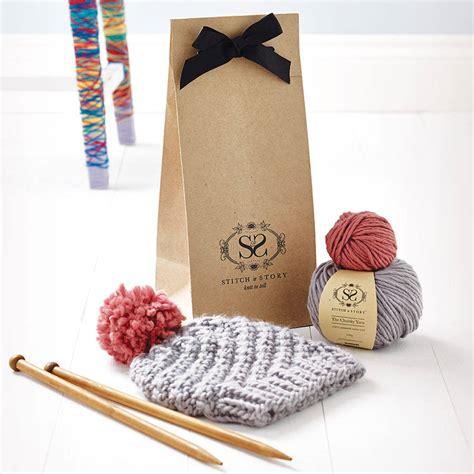knitting set knitting kit beginner s pom pom hat gift set by stitch