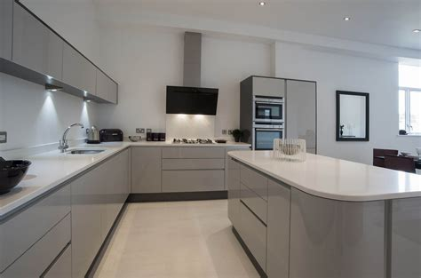 Light Grey Kitchen Kitchen Acrylic Light Grey Panorama Kitchens Liverpool