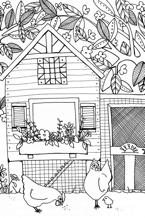 coloring page chicken coop creative chicken coloring book