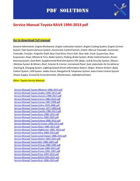 manual repair free 2009 toyota avalon engine control service manual toyota rav4 1994 2013 pdf pdfsr com