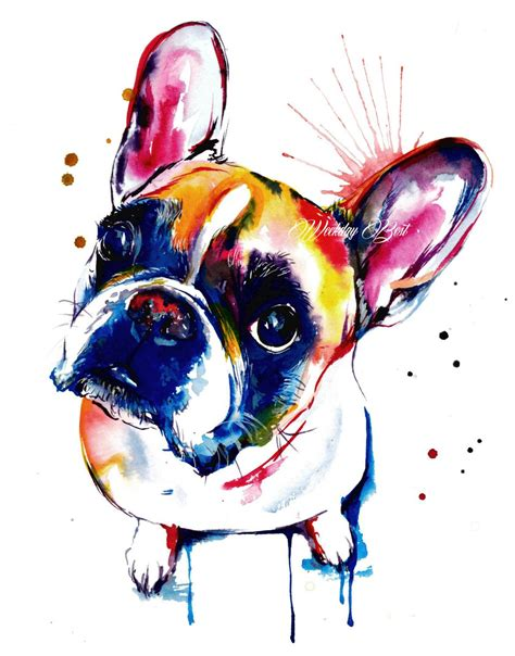 watercolor tattoo boston bulldog frenchie print print of by weekdaybest