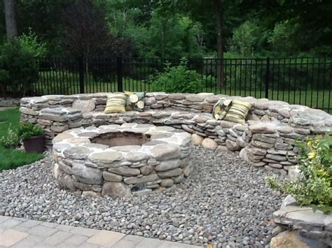 Natural Stone Fire Pit Traditional Landscape Boston Rock Firepit