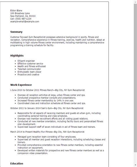 Health Club Receptionist Cover Letter by Receptionist Resume Template Best Design Tips Myperfectresume