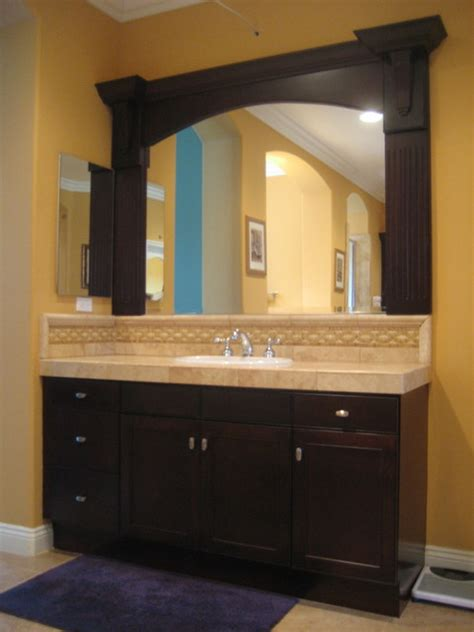 custom bathroom mirrors framed refinished vanity with custom mirror frame