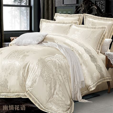 Jacquard Bed Set Beige Jacquard Silk Comforter Bedding Set King 4pcs Luxury Satin Duvet Quilt Cover Lace