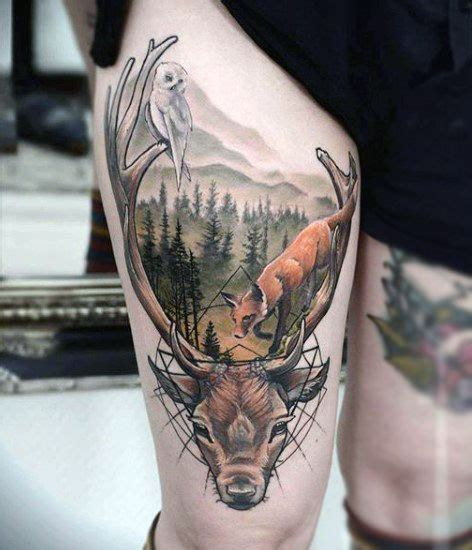 outdoors tattoo designs 90 deer tattoos for manly outdoor designs deer