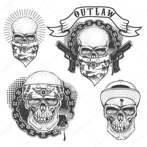 conjunto de tatuaje de g 225 ngster calavera dibujada mano