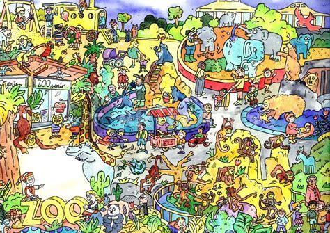 im zoo kinderbuch deutsch englisch 3191495975 quot zoo tiere wimmelbild quot grafik illustration als poster und kunstdruck von sabine voigt bestellen