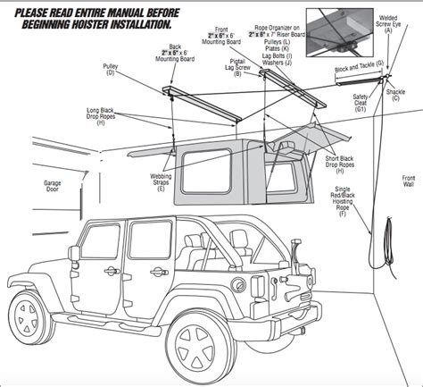 jeep pulley system how to install a harken hoister garage storage 4 point