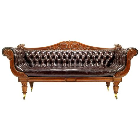 Regency Leather Sofa by Regency Mahogany Leather Sofa For Sale At 1stdibs