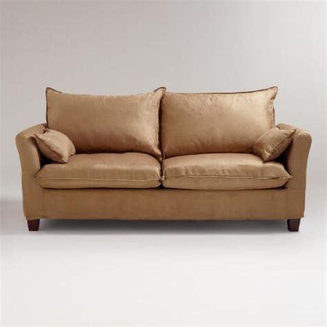world market luxe sofa slipcover moccasin microsuede luxe sofa slipcover world market
