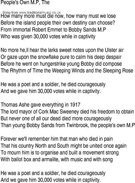 Irish Music, Song and Ballad Lyrics for: People Own Mp