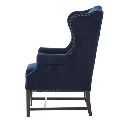 blue velvet wing chair gracie deco royal blue velvet classic wing chair