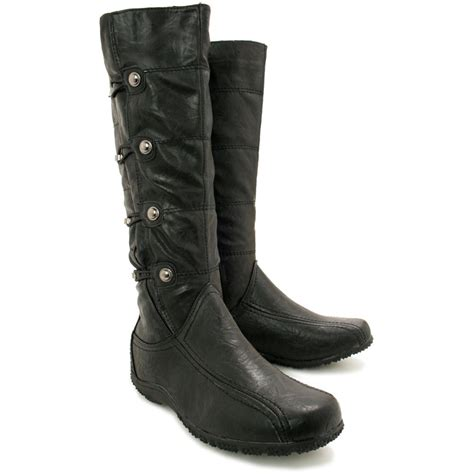new womens flat toggle knee high wide calf biker boots