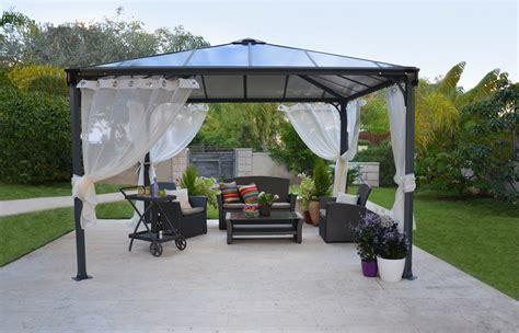 gartenpavillon aluminium stabil tonnelle aluminium gris anthracite palram 360x360 cm