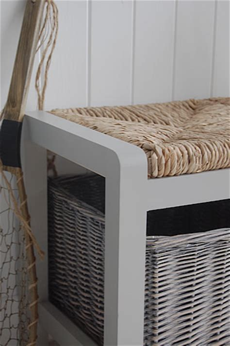 hall storage bench uk a long grey storage seat with baskets hall furniture