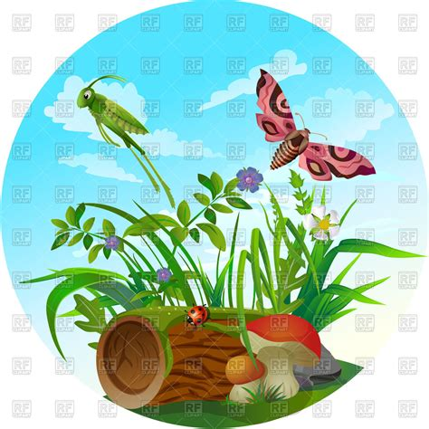 nature clipart nature icon insect in forest royalty free vector