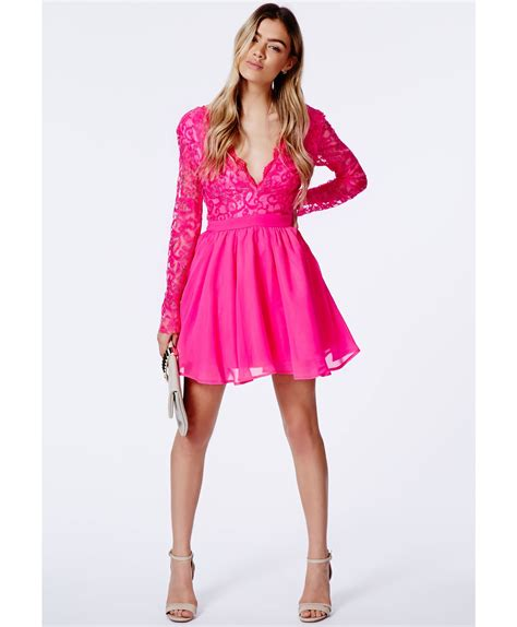 Pink Lace Dress 30580 lyst missguided dayana pink lace sleeve puff dress in pink