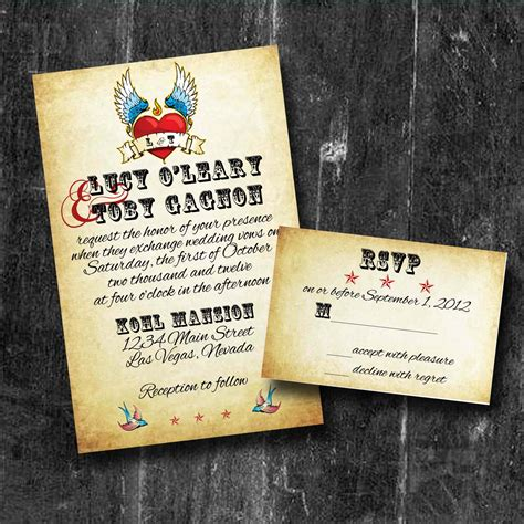rock wedding invitations rock n roll wedding invitations with rsvp personalized
