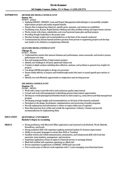 six sigma consultant resume sles velvet